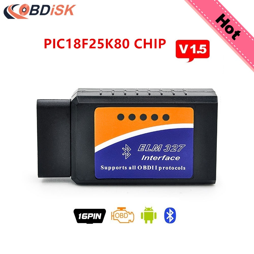 2017 Elm327 Bluetooth V1.5 BT adapter Works On Android Torque ELM 327 V 1.5 Interface OBD2 OBD II Auto Car Diagnostic Scanner