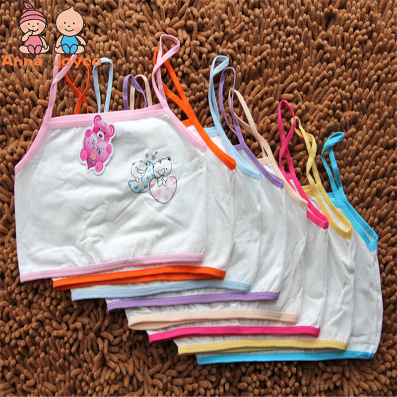 3pc/lot Girls Underwear Girls Cotton Vest  Kids Learning Bra Sweat Bra TST0142