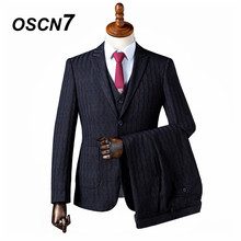 OSCN7 2019 Peak Lapel Stripe Custom Made Suits Men Slim Fit Wedding Party Mens Tailor Made Suit Fashion 3 Piece ZM-567(China)