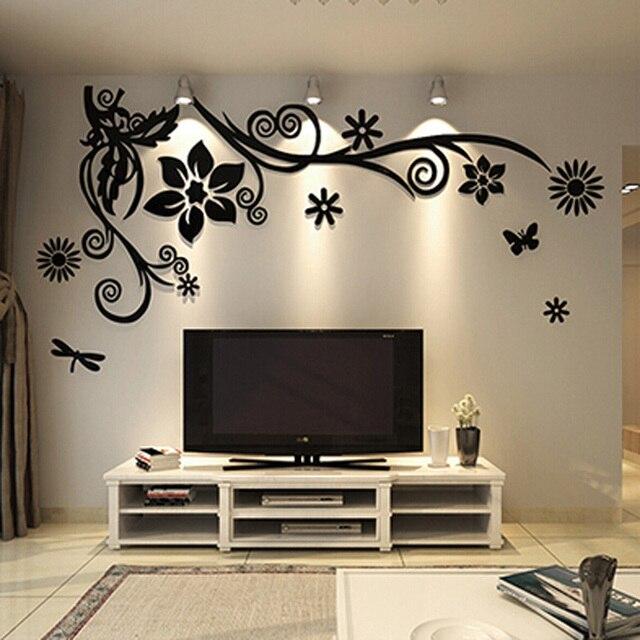 Wonderful TV Background Decoration Flowers Acrylic Wall Sticker ...