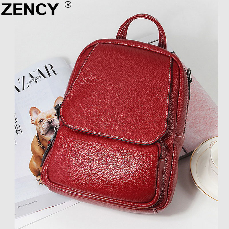 цены 2018 Fashion Spring Soft Natural Genuine Leather Women's Backpack Women Ladies First Layer Real Cowhide Casual Bags Backpacks