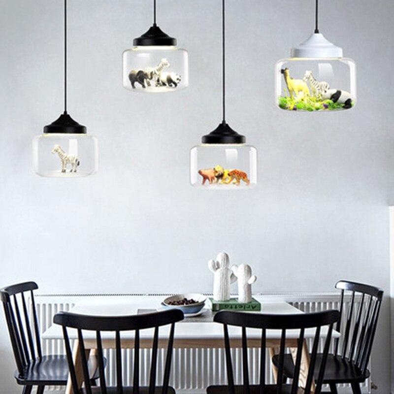 Pendentif LED moderne lumières en verre intégré une variété de petits animaux panda tigre pendentif LED lampe suspendue chambre d'enfants