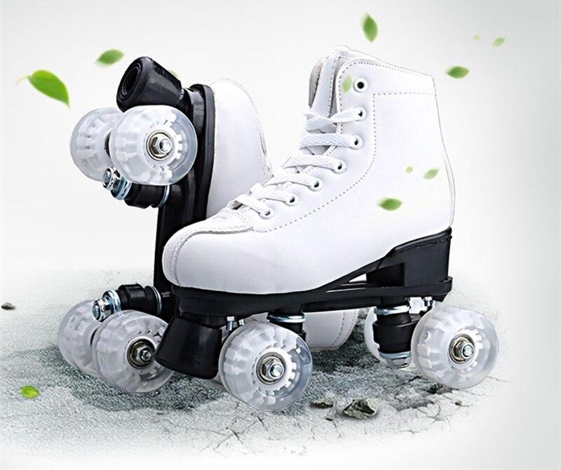 NEW 2018 Women Female Double Line Adult Quad Parallel Figure Skates Shoes Boots PU 4 Wheels