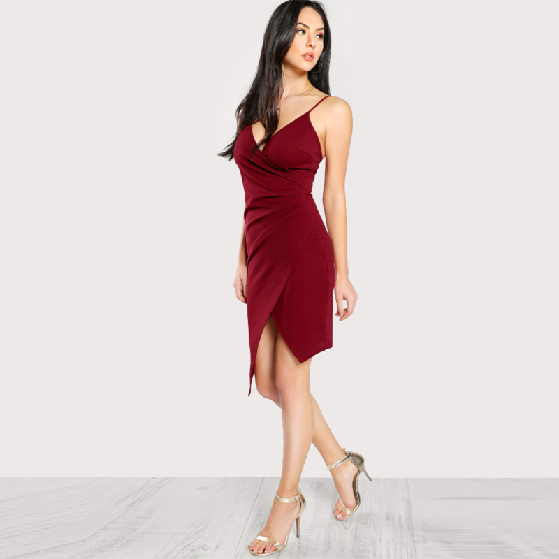 COLROVIE Ruched Overlap Form Fitting Cami Dress 2017 Burgundy Spaghetti Strap Sleeveless Slip Asymmetrical Party Dress With Zip 10