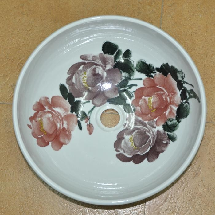 Chinese Hand Painted Peony Art Ceramic Porcelain Basin Bathroom Bowl polmedia polish pottery 7 inch stoneware bowl h8012f hand painted from vena in boleslawiec poland shape s051e 073 pattern p4890a u071 unikat