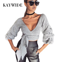 KAYWIDE 2017 Women Crop Tops Series Autumn Deep V Neck Sashes Knitted T-Shirt Femme Cropped Basic Cross Slim Full Sleeve T Shirt