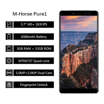 M-Horse Pure 1 LTE 4G Smartphone 5.7 inch IPS 18:9 Ratio Screen MTK6737 Quad Core 4380mAh Fingerprint ID Android Cell phone