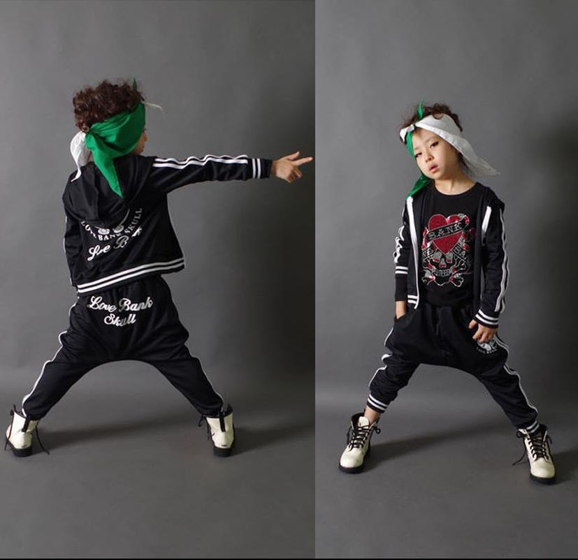 ФОТО Fashion spring autumn children's clothing set black&red Costume kids sport suits patchwork Hip Hop dance pant & sweatshirt