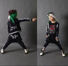 Мода весна осень детская одежда набор черный и красный Костюм детские спортивные костюмы лоскутное Хип-Хоп танец брюки и толстовка