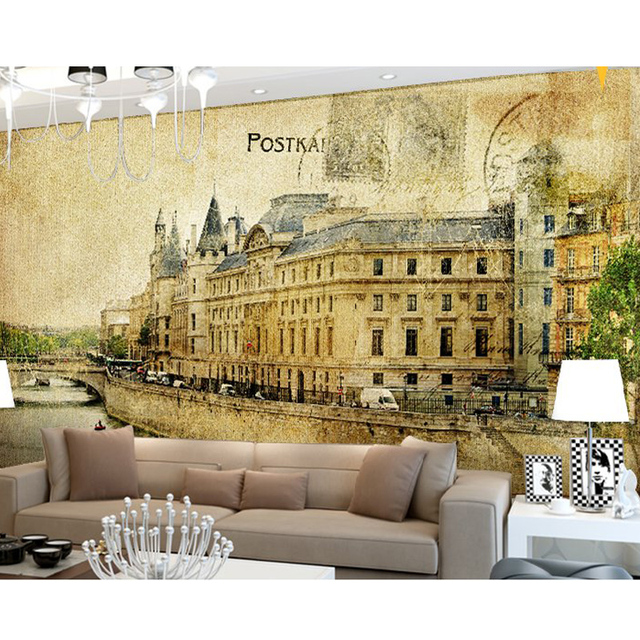 Free Shipping Nostalgia Mural TV Living Room Sofa Bedroom Dining Children Background Retro Old