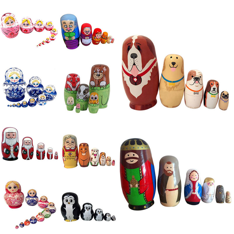 Superior Baby Dolls Action Toy Nesting Dolls Wooden Matryoshka Set Russian Dolls Hand Painted Home Decoration