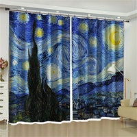 Van Gogh Oil Painting The Starry Night Backdrop Fabric Curtains Blackout Living Room Bedroom Window French Door Home Decoration