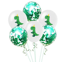 AVEBIEN 12inch Dinosaur Latex Balloons Green White Sequins Confetti Balloon Baby Shower Theme Birthday Party Decoration Supplies