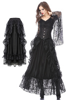 Darkinlove Women Gothic Eleglant Party Skirt Steampunk Retro Evenong Party Lace Long Skirt