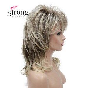 Image 2 - Strong beauty perruque complète synthétique classique Blonde Ombre à couches pour femmes, perruque longue Shaggy, couleur choix
