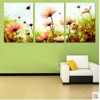 -Três imagem Combinação pintura by numbers vintage home decor wall art pictures pintura a óleo sobre tela flor Tríptico H461