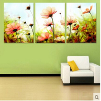 Three picture Combination painting by numbers vintage home decor wall art flower pictures oil painting on canvas Triptych H461