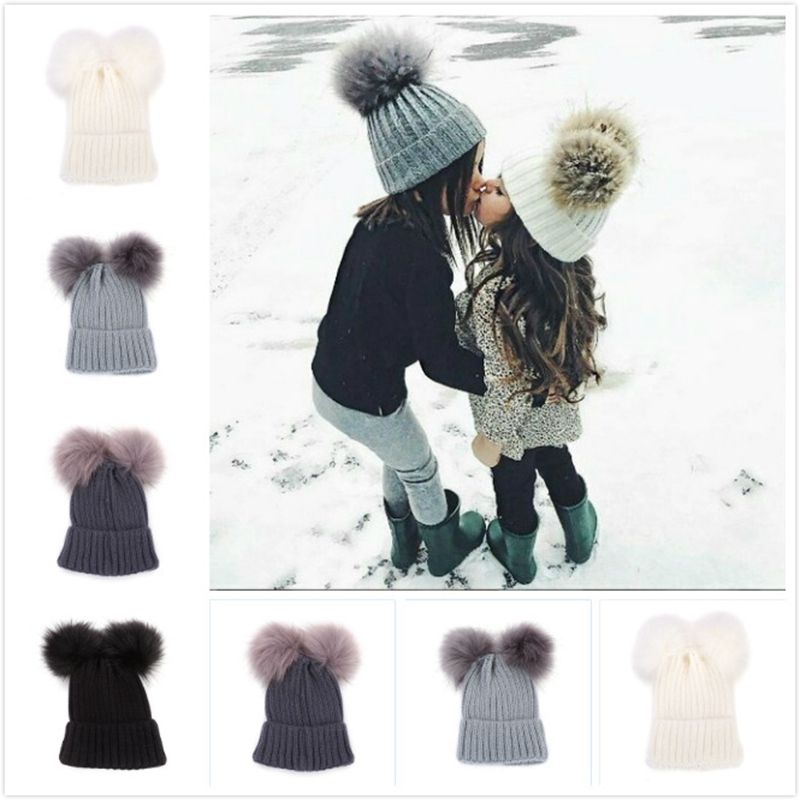 WZCX 2019 New Fashion Double Hairball Solid Color Knitted Hat Keep Warm Casual Tide Autumn Winter Baby Beanie Adult Cap(China)