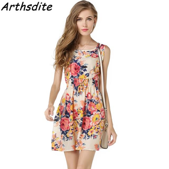 b22f1b02ad8 Arthsdite 2018 Sexy Women Mini Dress Cheap Chiffon Spring Summer Sleeveless Plus  Size Sundress Beach Floral Print Tank Dress
