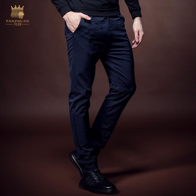 El envío Libre 2016 Nuevas llegadas de la moda Masculina de invierno hombres casual hombre pantalones delgados pantalones delgados 618080 letras en relieve promoción