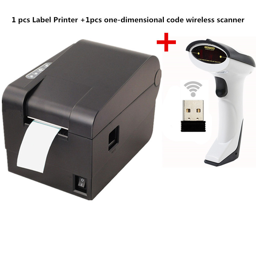 Gift 1pcs wireless scanner+ clothing tag  58mm Thermal barcode printer sticker printer Qr code the non-drying label printer supermarket direct thermal printing label code printer