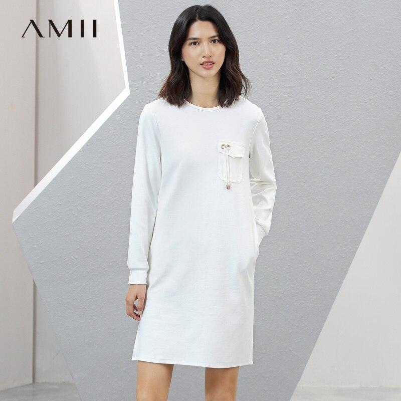 Amii Minimaliste Casual Femmes Robe 2018 Solide Lanière Fentes De Poche Micro-Élastique Robes