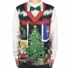 Funny Fake Sweater Vest Printed Ugly Christmas T Shirt for Men Cool Boys Long Sleeve Xmas Party Vacation Shirts Plus Size