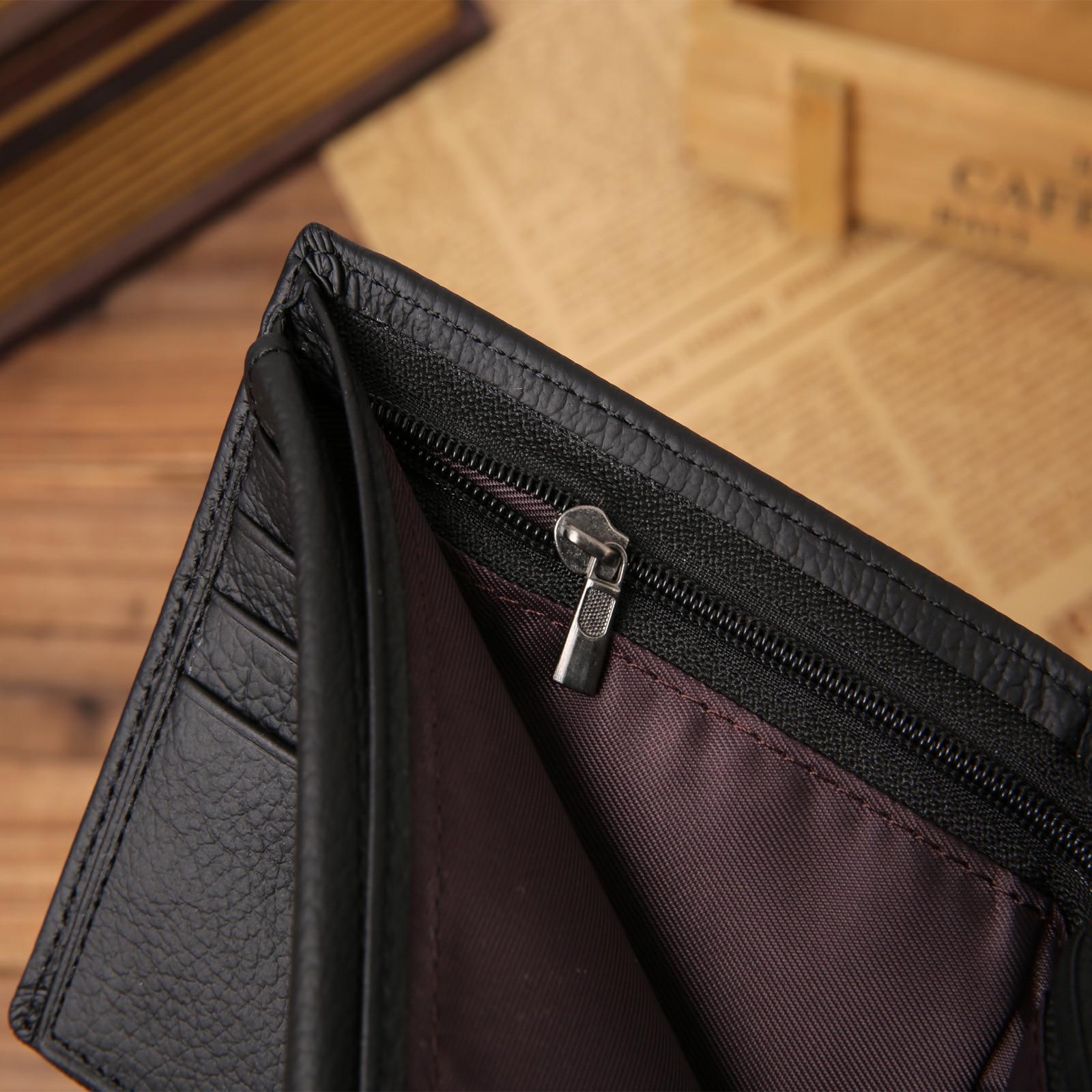 100% genuine leather mens wallet premium product real cowhide wallets for man short black walet portefeuille homme 3
