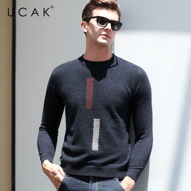 UCAK Brand Pure Merino Wool Sweater Men 2019 New Arrivals Autumn Winter Thick Warm Cashmere Pullover Men O-Neck Pull Homme U3035