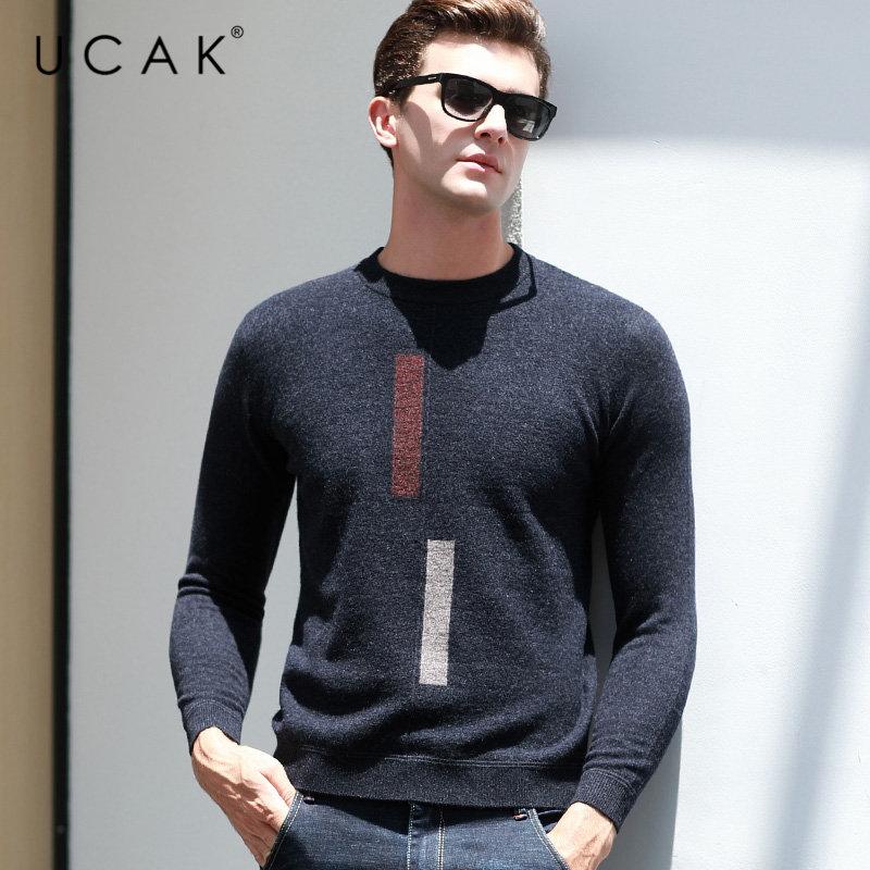 UCAK Brand Pure Merino Wool Sweater Men 2019 New Arrivals Autumn Winter Thick Warm Cashmere Pullover Men O-Neck Pull Homme U3035
