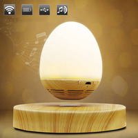 LED Bulb Magnetic Levitating Bluetooth Speaker Wood Grain Base Floating Maglev Speaker Night Light Lamp EU