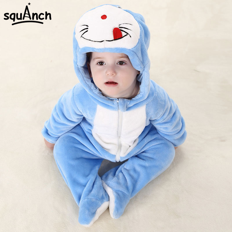Cartoon Doraemon Onesie Infant Anime Cosplay Costume Blue Cat Kigurumi Onesie Pajama Baby Bodysuit Flannel Warm Soft Winter Suit