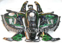 Hot Sales,Customized fairing For Honda CBR600 F3 1995 1996 95 96 Green Flame Aftermarket Motorcycle Fairings (Injection molding)