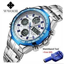 цена WWOOR Men's Quartz LED Digital Watch Top Brand Luxury Waterproof Men Sports Watches Clock Male Steel Army Military Wrist Watches онлайн в 2017 году