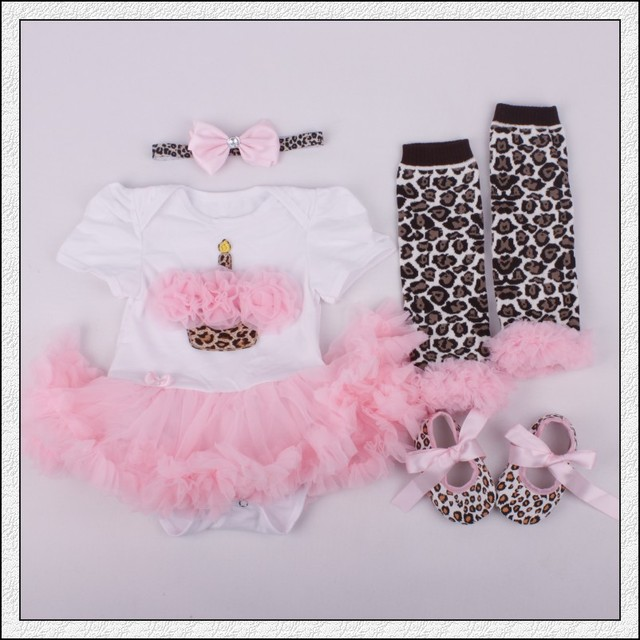 0ea835fa1d259 US $17.99 |4PCs per Set Infant Lace Romper Birthday Leopard Pink Baby Girls  Tutu Dress Headband Shoes Leggings for 0 12months Free Shipping-in Dresses  ...