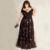 2017 Elegante Fuera Del Hombro de Encaje Patrón A-line Largo Piso-Longitud Vestidos Para Ocasiones Especiales Más El Tamaño Mujeres Vestidos de Noche Formales