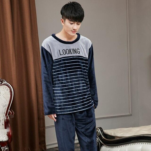 Men's Winter Pijamas Hombre Casual Pajamas Thicken Warm Polyester Stripe O-Neck Full Sleeve Men Pajamas Sets Plus L-XXXXL