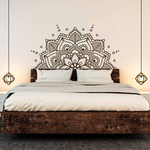 Mandala Art Vinyl Wall Stickers Bohemian Mandala Flower Bed Decor Removeable Accessories Wall Decal Headboard Bedroom MuralZW466 high quality flower fairy shape removeable wall stickers