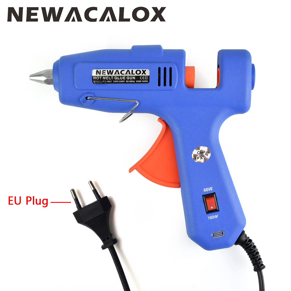 NEWACALOX 60W 100W 100V-240V EU/US Plug Hot Melt Glue Gun with 1 pcs 11mm Stick Heat Temperature Tool Guns Thermo Gluegun Nozzle 50 pcs white high temperature hot melt glue stick glue of 11mm non toxic environmental protection suitable for high temperature