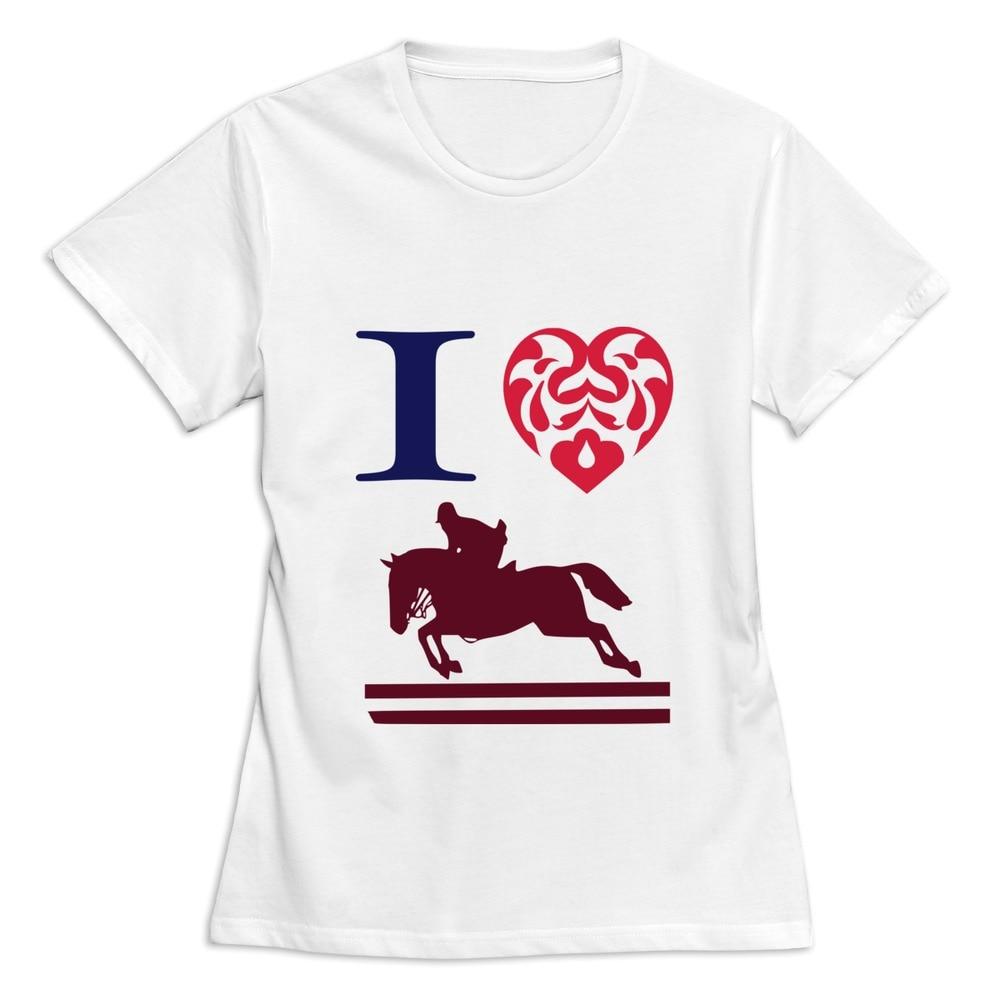 Design a t shirt horse - Design Screw Neck I Love Horse Riding Racing Jumping Games Women T Shirt Fitness Girlfriend