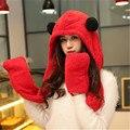 Mulheres panda chapéu de pele cachecol capuz Mens Abas Do Chapéu de Ouvido Mão bolsos Chapéu de Panda De Pelúcia Inverno Quente Cap com Luvas Longo Cachecol luvas