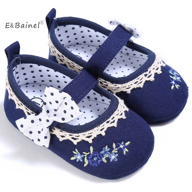 EBAINEL Official Store EBainel Spring Autumn Baby Girls First walkers Cute Flower Print Princess Butterfly-Knot Baby Shoes