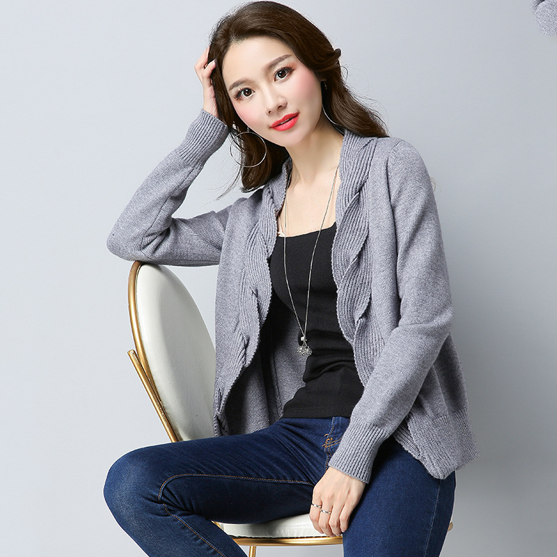 New Loose Solid V Neck Sweater Cardigan Women Casual Long Sleeve Knitting Jacket Female knitwear Spring Coat 0123-85