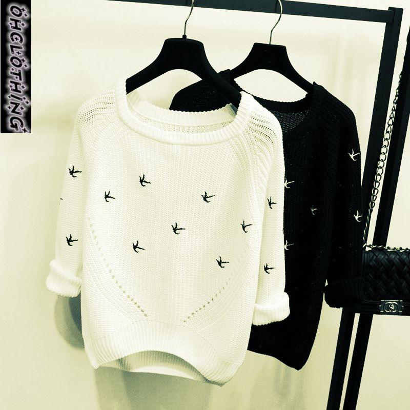 OHCLOTHING 2019 Нова Осінь Зима Мода жінок Светр Висока якість Повсякденні Джемпер Пуловери Свободна Femininas Blusas Трикотаж