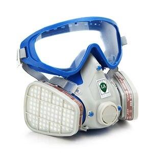 Image 2 - Gas Comprehensive Cover Paint Chemical Mask & Goggles Pesticide Dustproof Fire Escape  respirator carbon filter mask