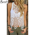 Reaqka Summer Women Lace Crop Tops 2017 Elegant White Sexy Gauze Camis Spaghetti Hollow perspective Beach Short Tanks T-shirt