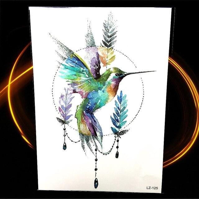 Aquarell Geometrie Hummingbird Blatt Temporare Tattoo Aufkleber