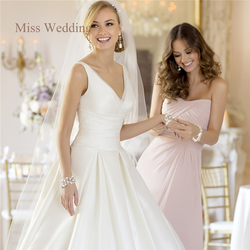Princess Style Wedding Gowns: Simple A Line Satin Wedding Dresses Princess Style Elegant
