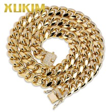цена на Xukim Jewelry High Polished Vacuum Plating 12mm Cuban Chain Necklace Silver Gold Color Punk Rock Rapper Hip Hop Jewelry Gift