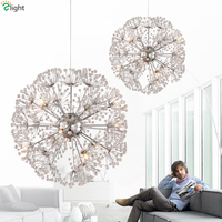 Nordic Design Plate Metal Dandelion Chrome Led Pendant Light Indoor Fixture G4 Suspension Light Modern Lustre